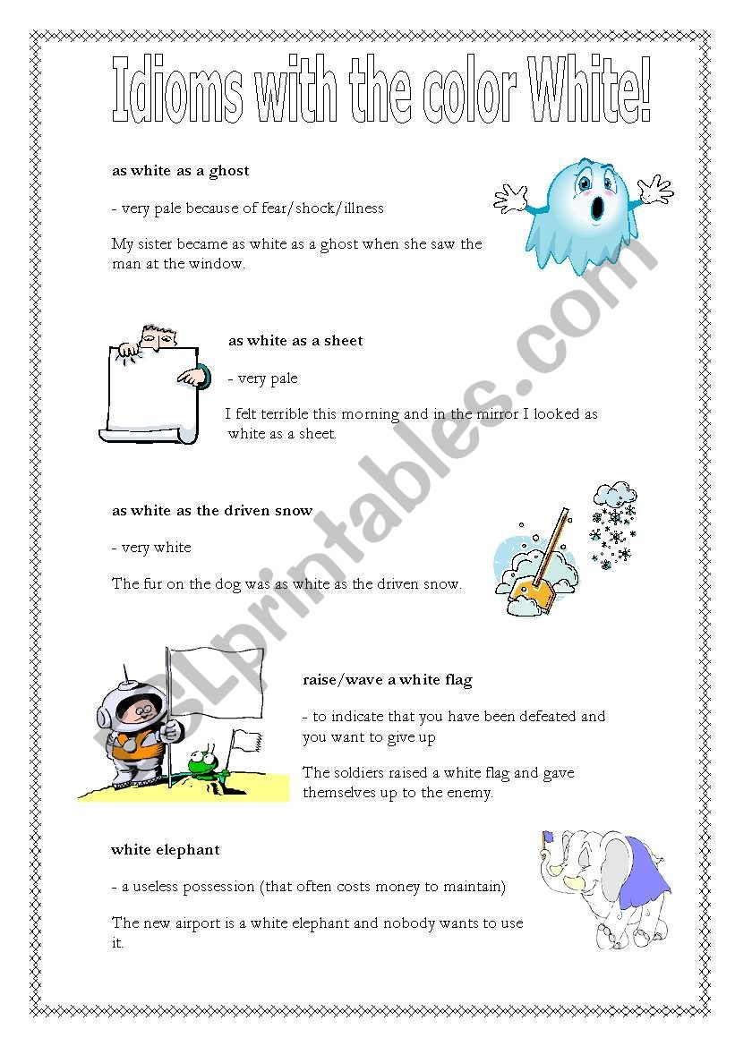 Idioms with the word White worksheet