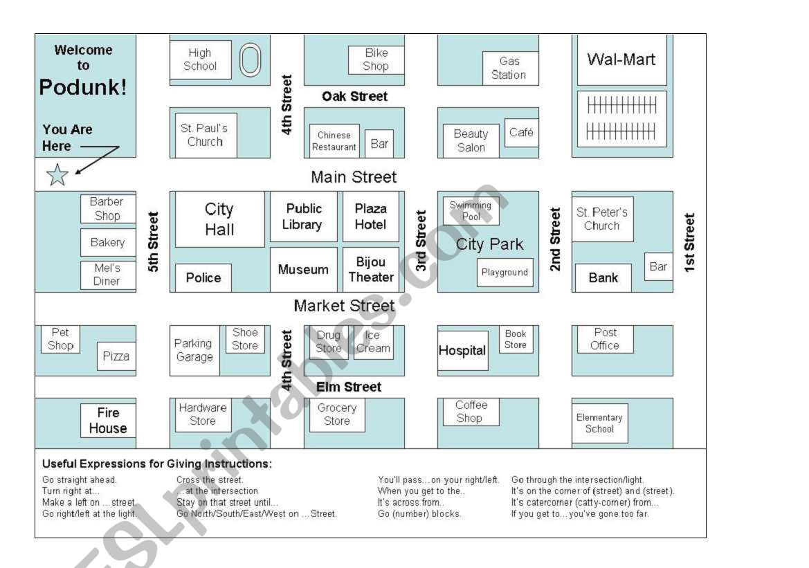 city map giving directions esl worksheet by esl augsburgerart. Black Bedroom Furniture Sets. Home Design Ideas