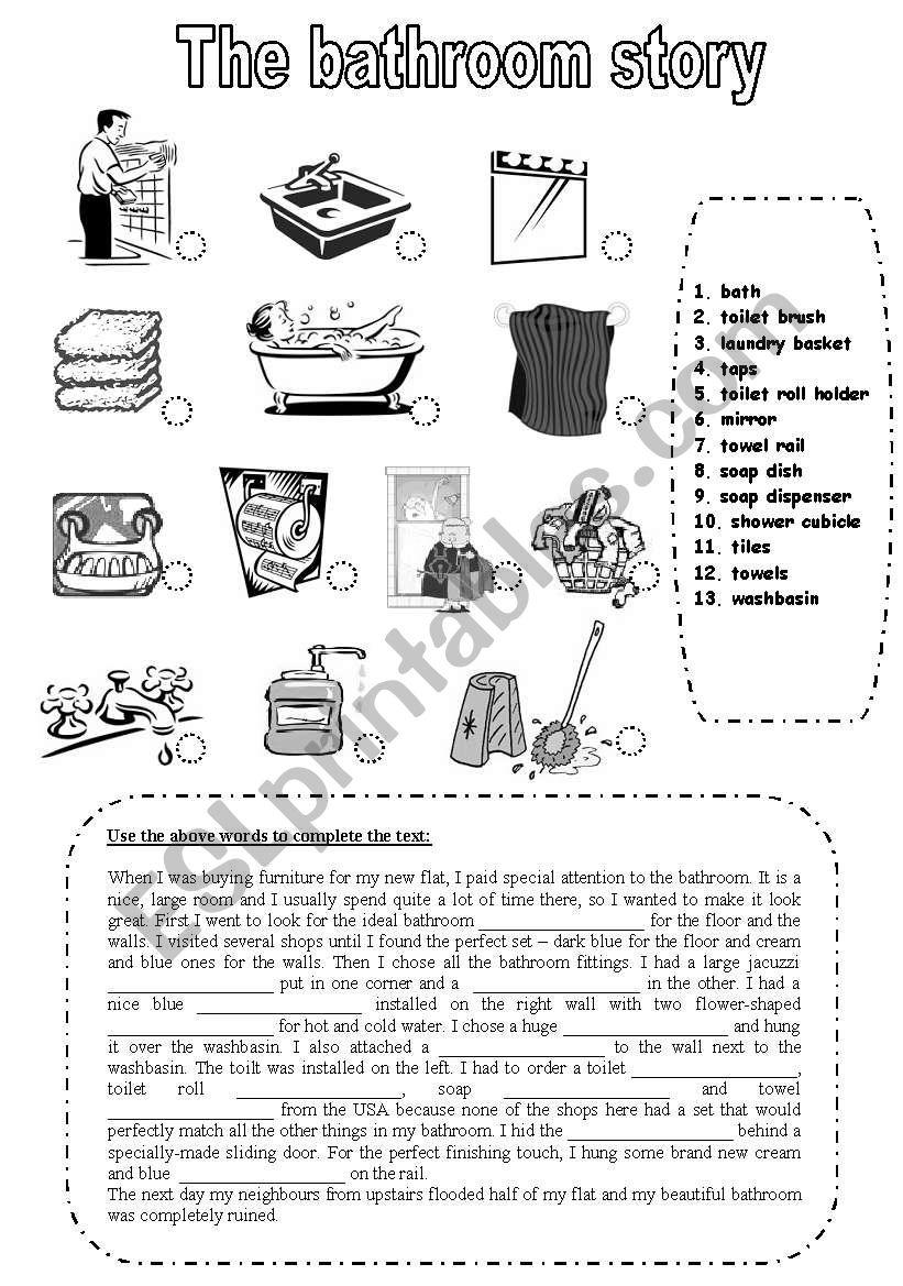 The bathroom story worksheet