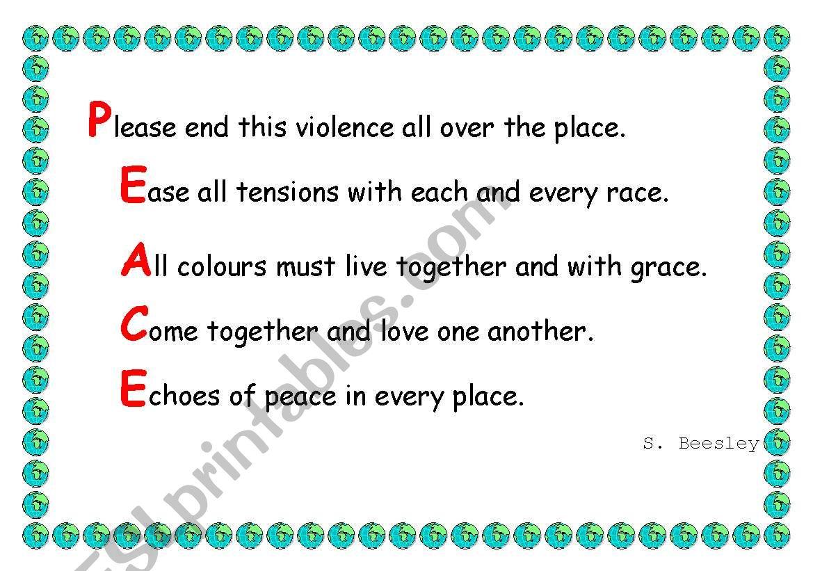 Peace acrostic worksheet