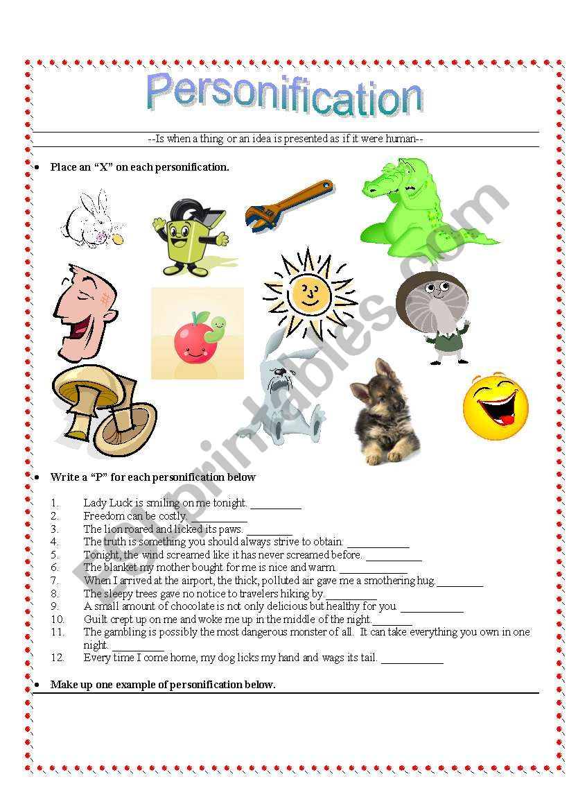 English worksheets: Personification
