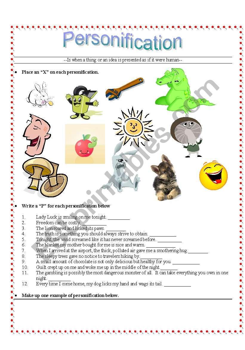Personification - ESL worksheet by kut314