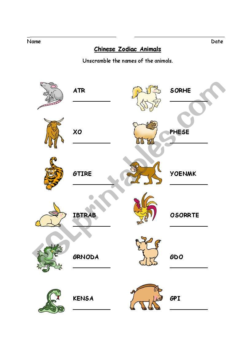 chinese zodiac animal word scramble esl worksheet by mllemaya. Black Bedroom Furniture Sets. Home Design Ideas
