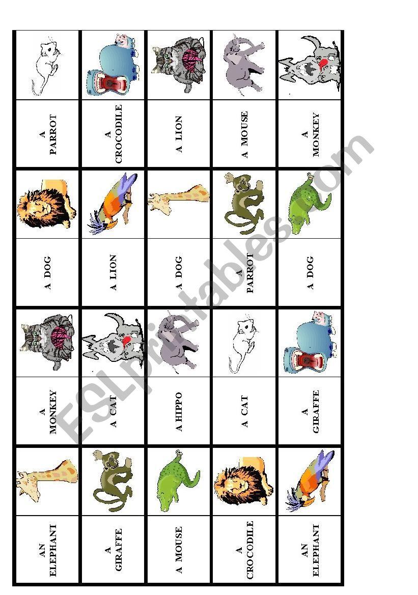 animal dominoes worksheet