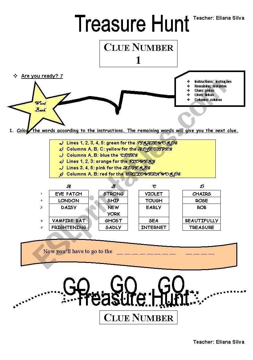 TREASURE HUNT  -PART 1 worksheet