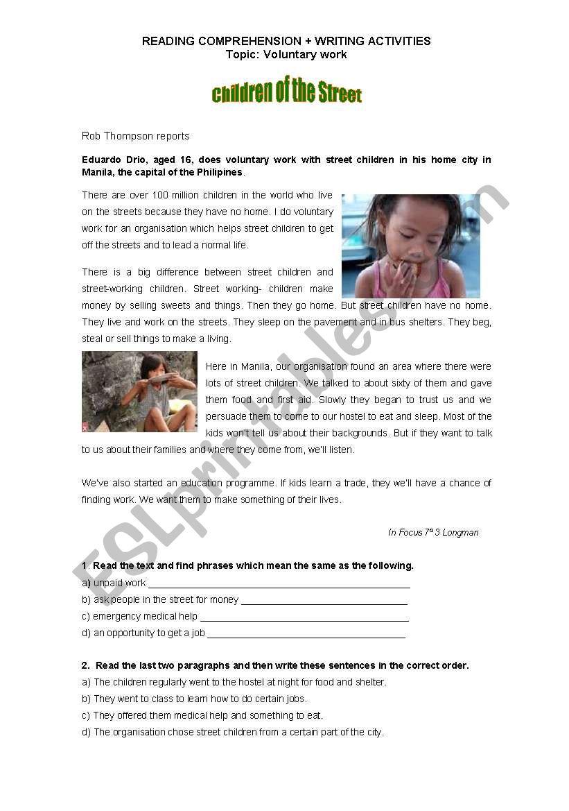 Worksheet -Voluntary work - reading comprehension + writing