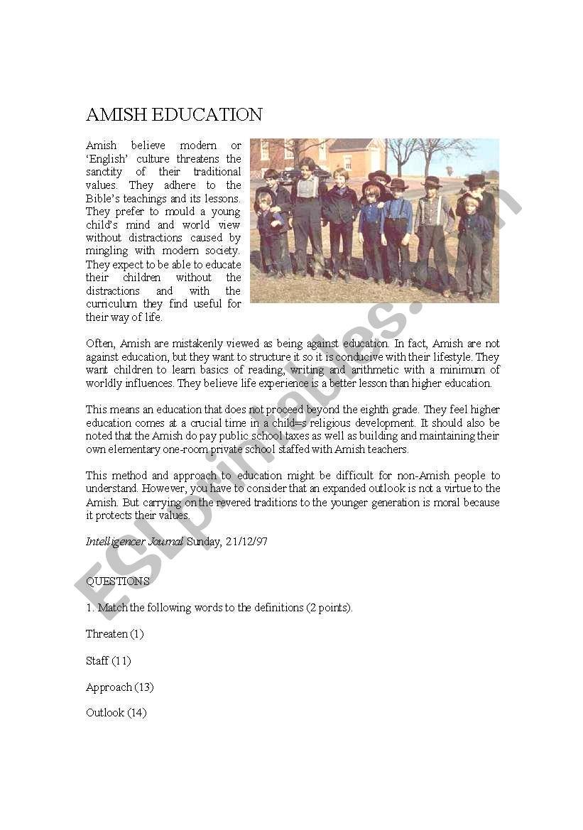 Amish Education worksheet
