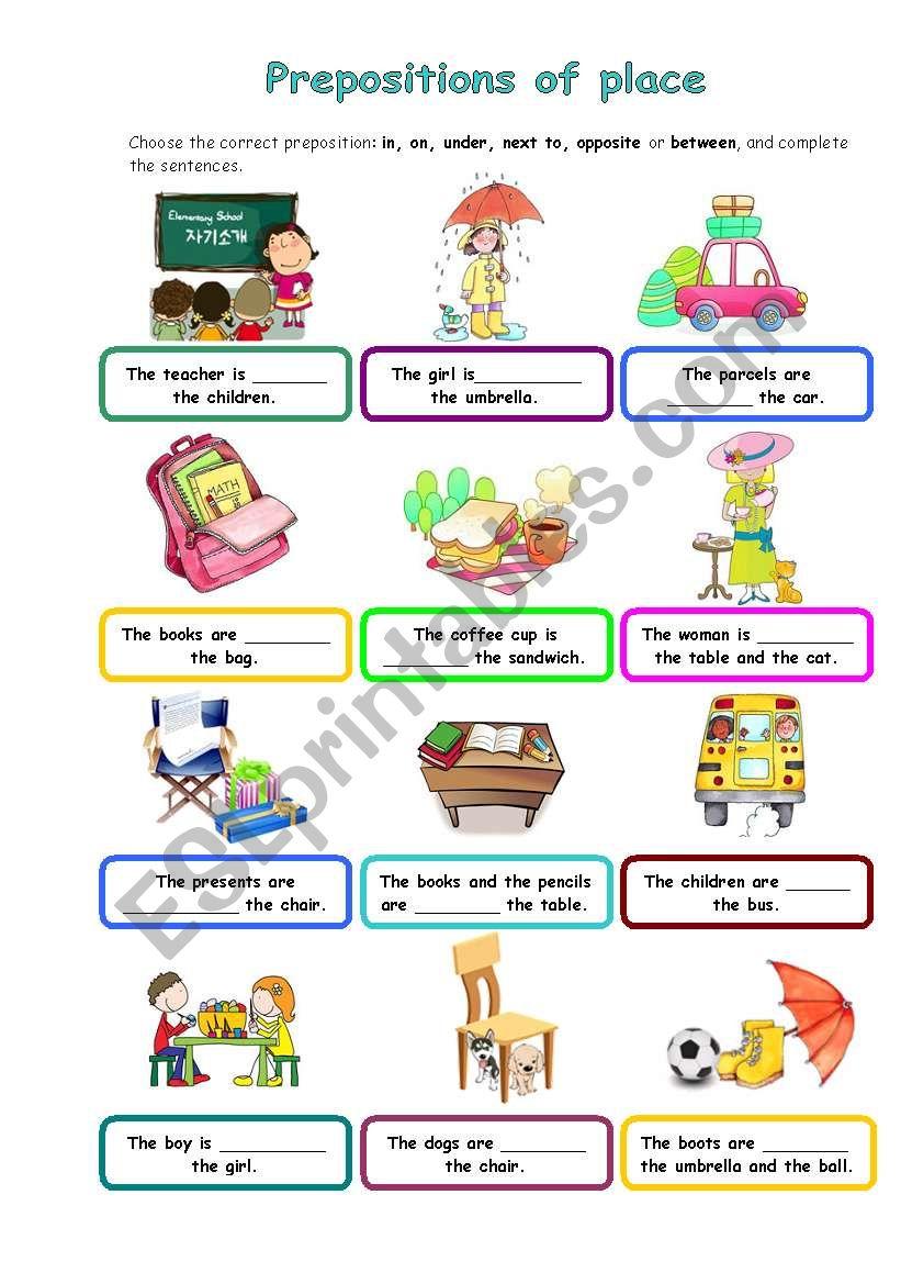 Preposition In Learn In Marathi All Complate: ESL Worksheet By Silvanija