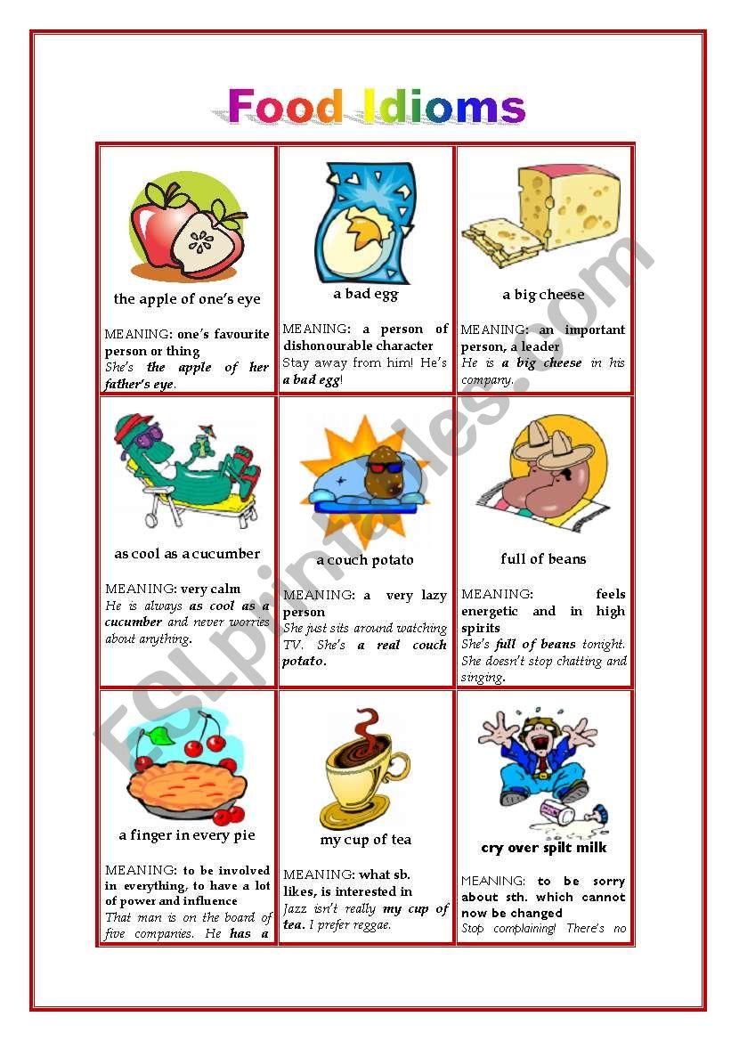 FOOD IDIOMS - WS 1 worksheet