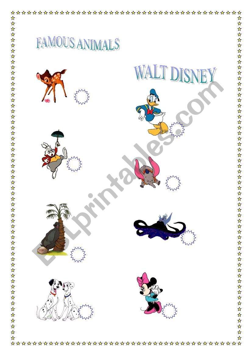 Famous Animals. Walt Disney worksheet