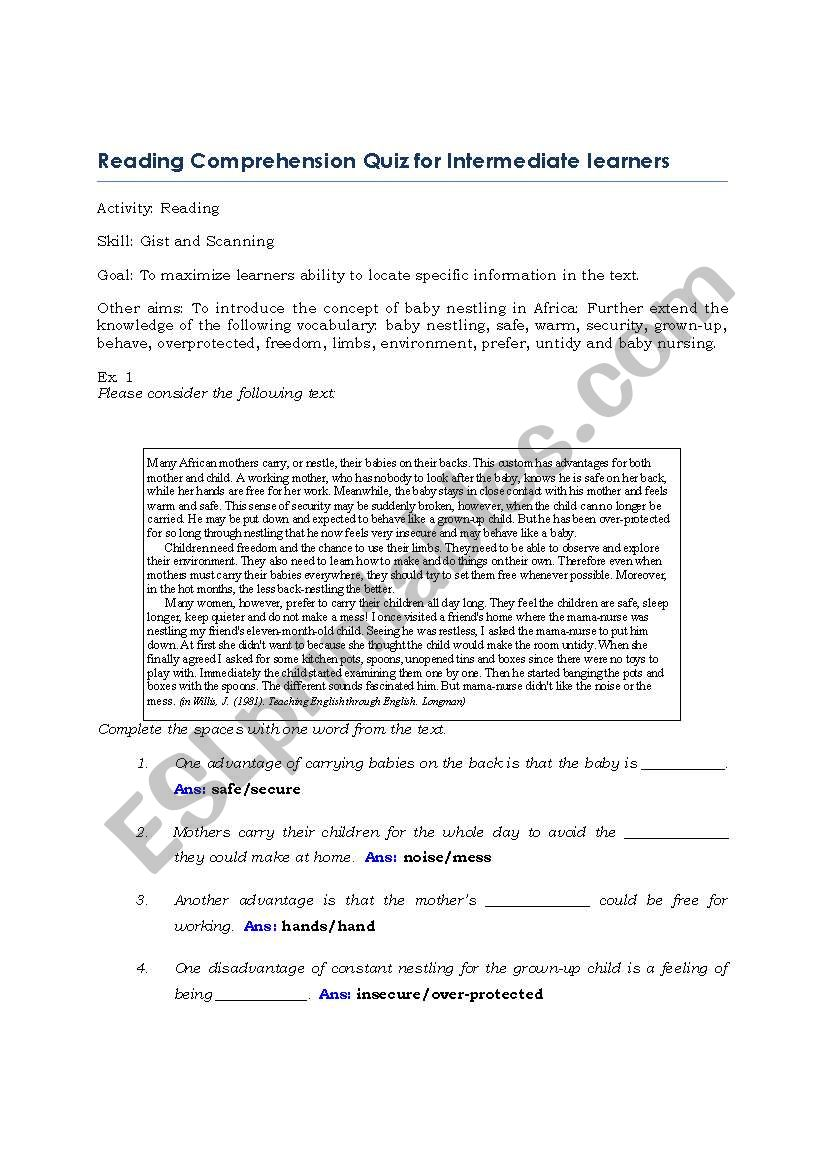 English Worksheets Reading Comprehension Quiz