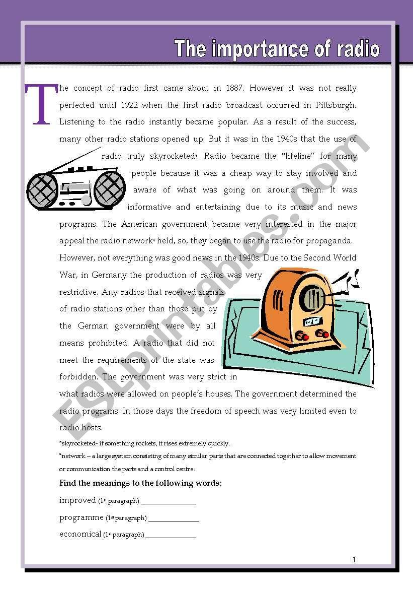 The importance of radio worksheet