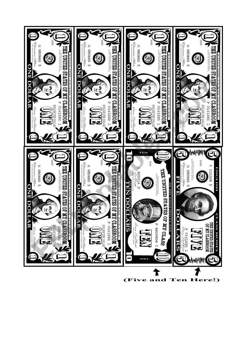 printable play money esl worksheet by daidougei dave. Black Bedroom Furniture Sets. Home Design Ideas