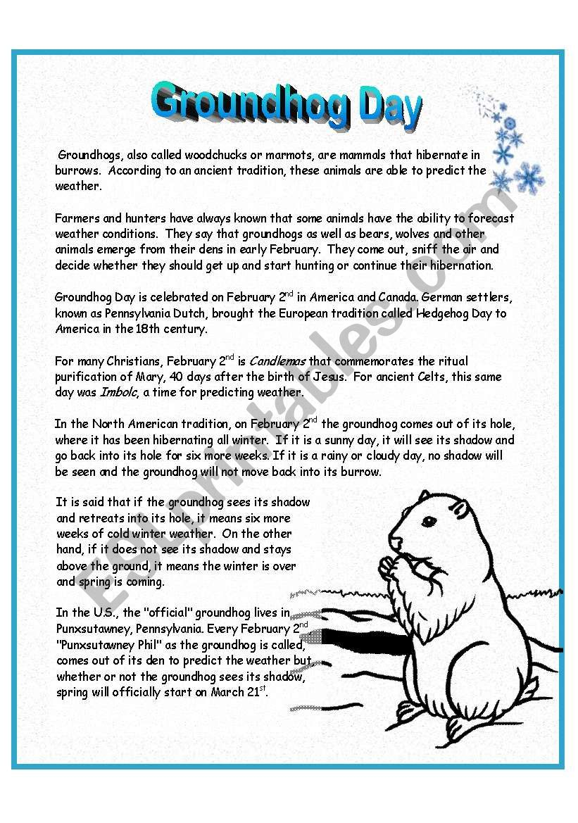 This is a graphic of Decisive Free Printable Groundhog Day Worksheets