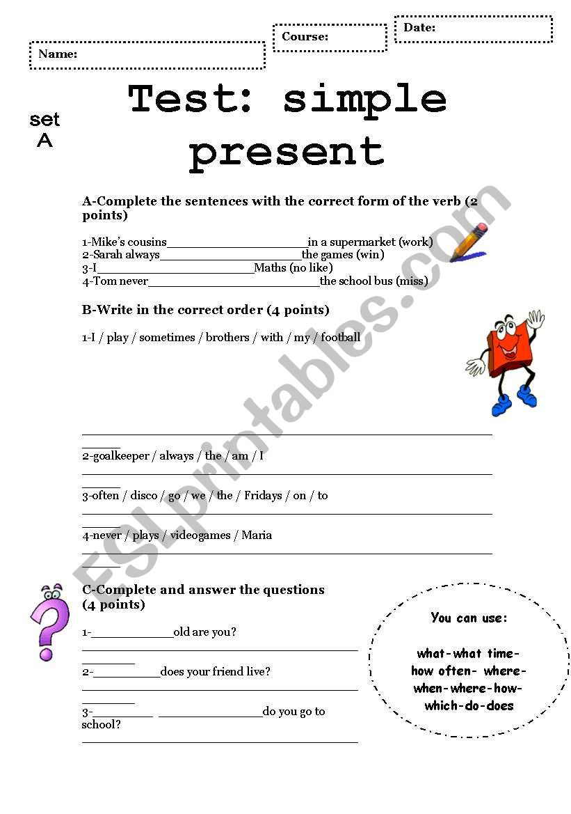 SIMPLE PRESENT-complete test set 1 and 2