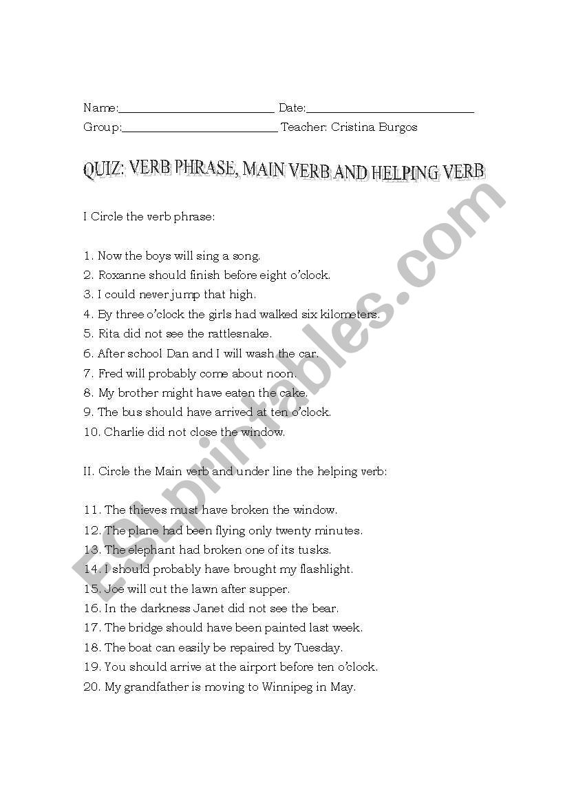 English Worksheets Quiz Verb Phrase Helping Verb And Main Verb