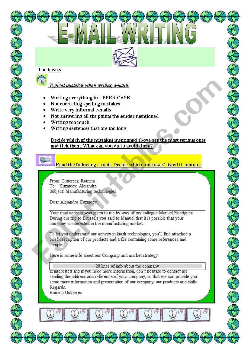 e-mail writing 3 pages worksheet