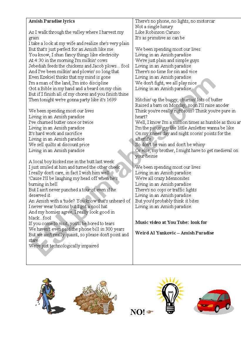 AMISH PARADISE + The AMISH worksheet