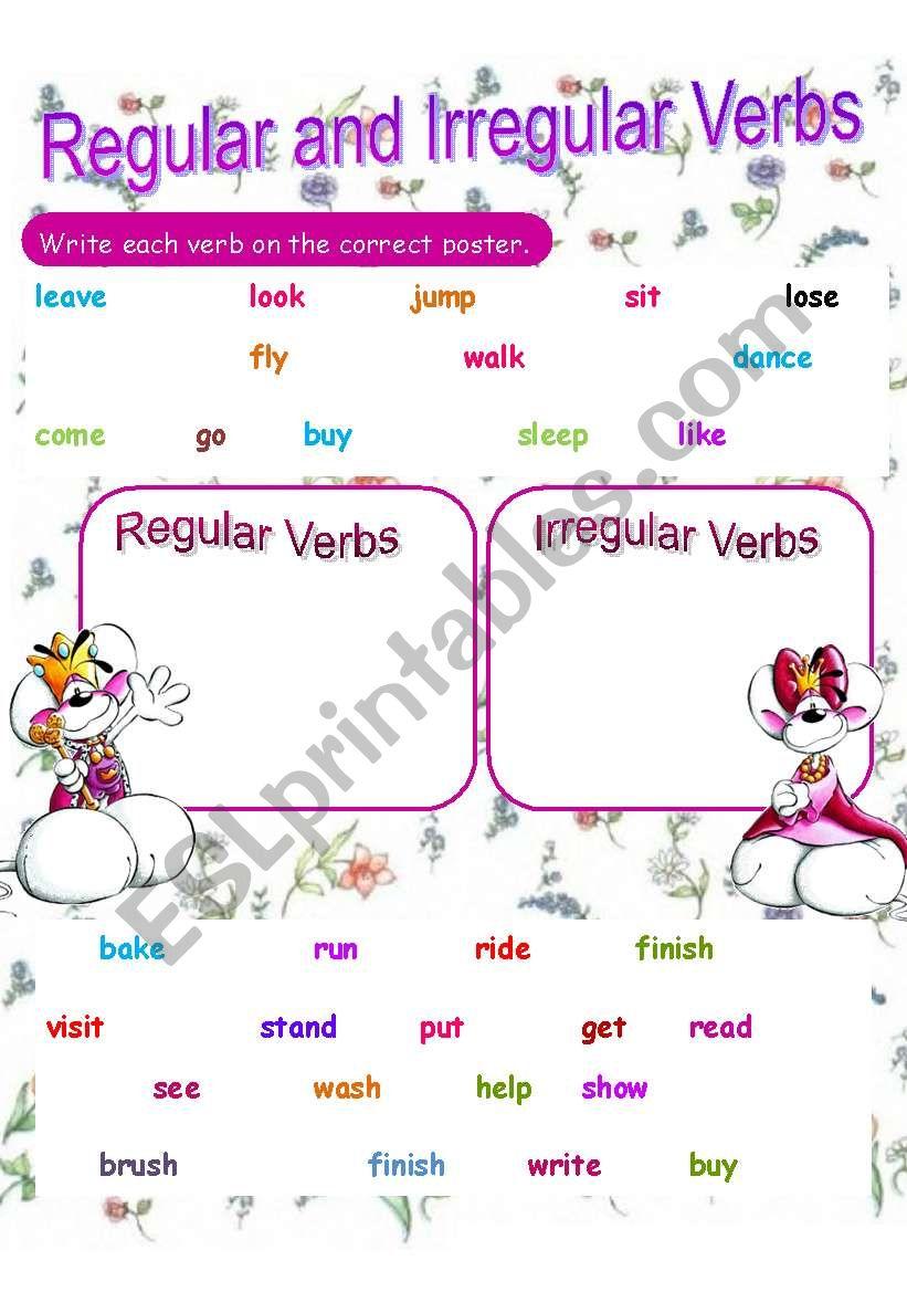 Regular And Irregular Verbs Review Esl Worksheet By Khadooy
