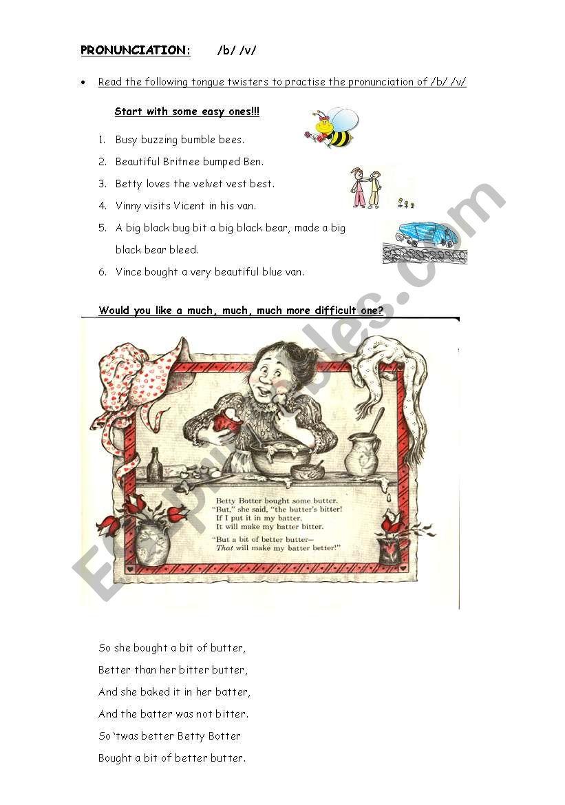 PRONOUNCIATION /B/ /V/ worksheet
