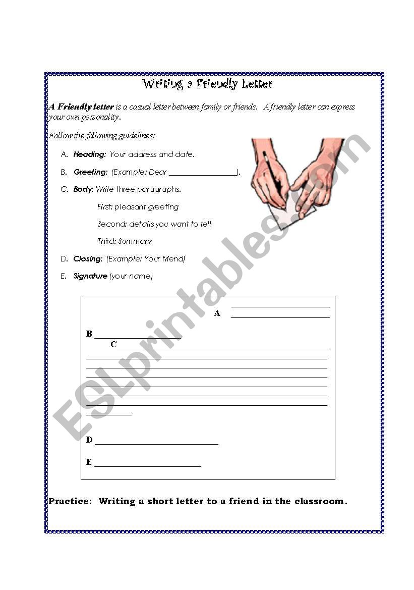 friendly letter - esl worksheet by nilaxal
