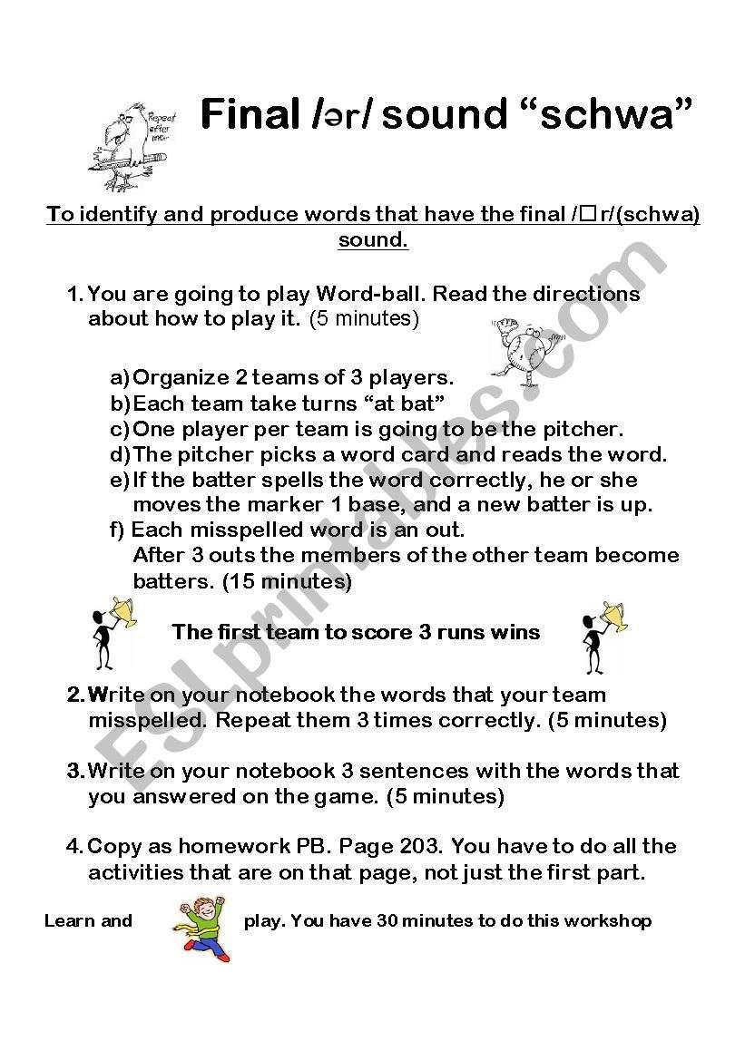 Schwa Sound Worksheets Kidz Activities