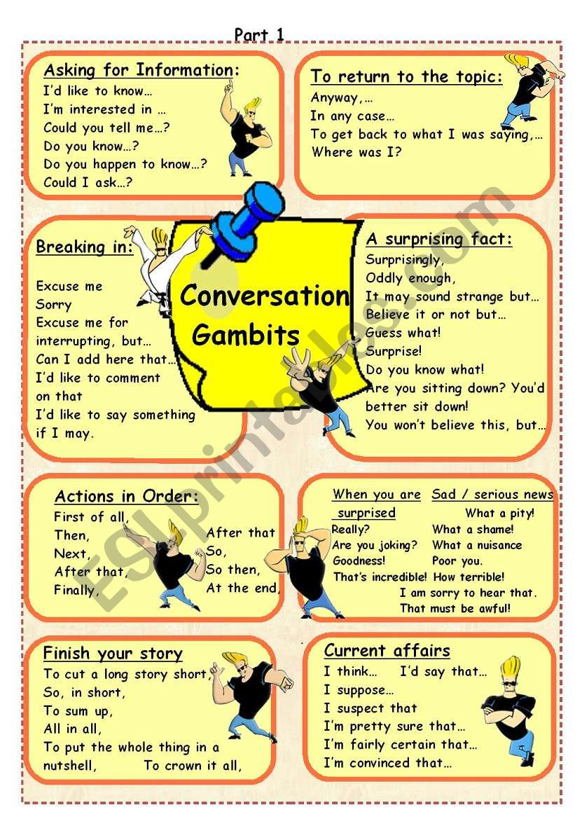 Conversation Gambits worksheet