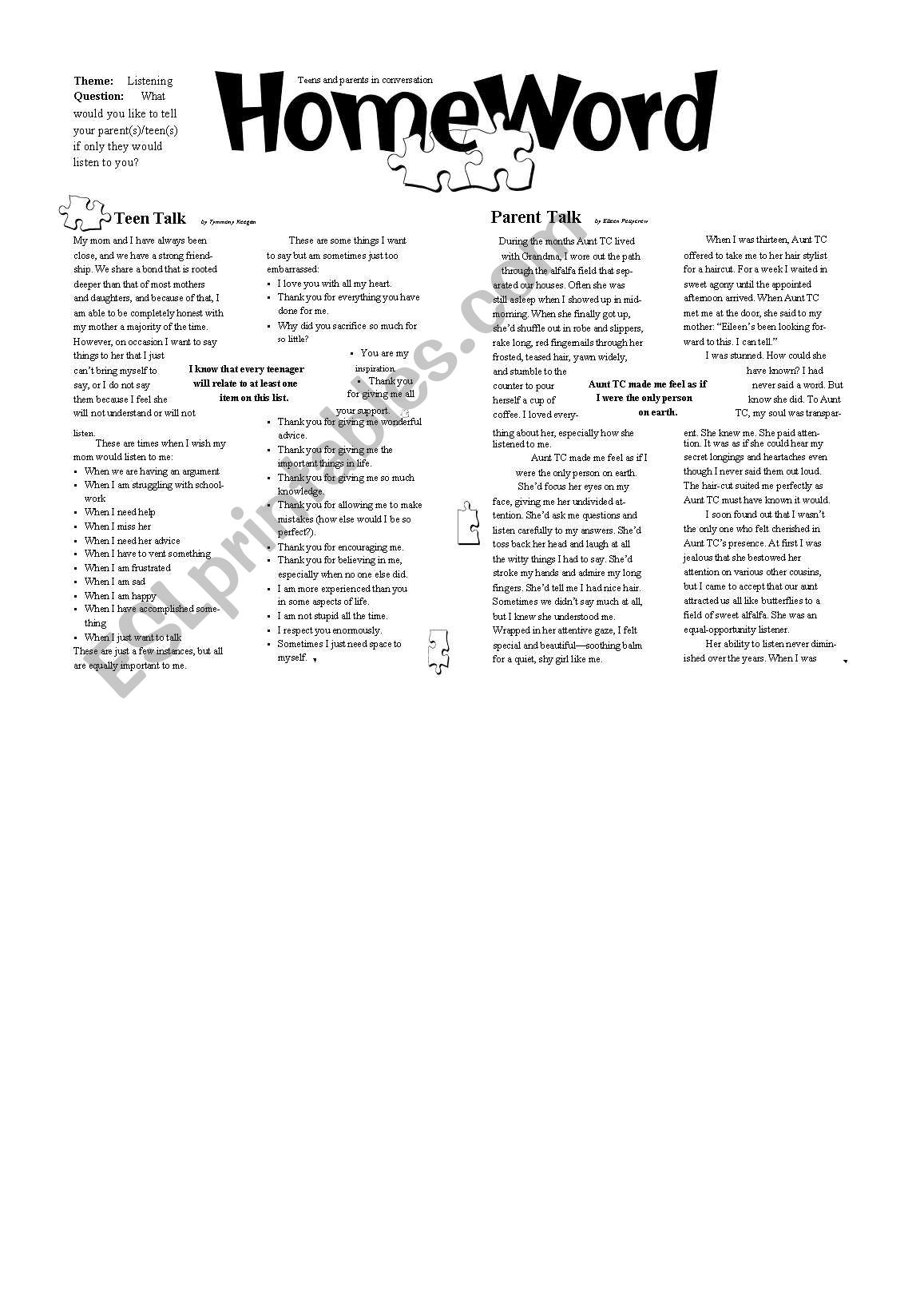Parents & Teenagers  worksheet