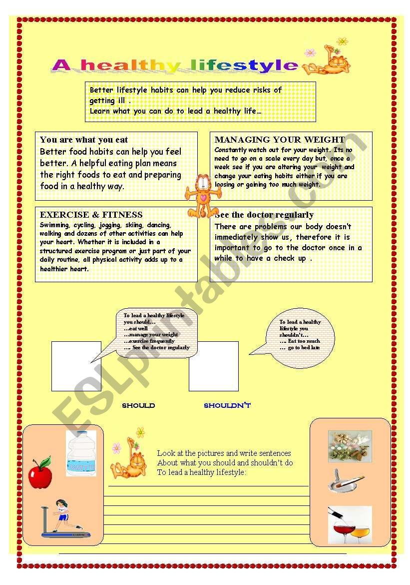 a healthy lifestyle - ESL worksheet by marmo