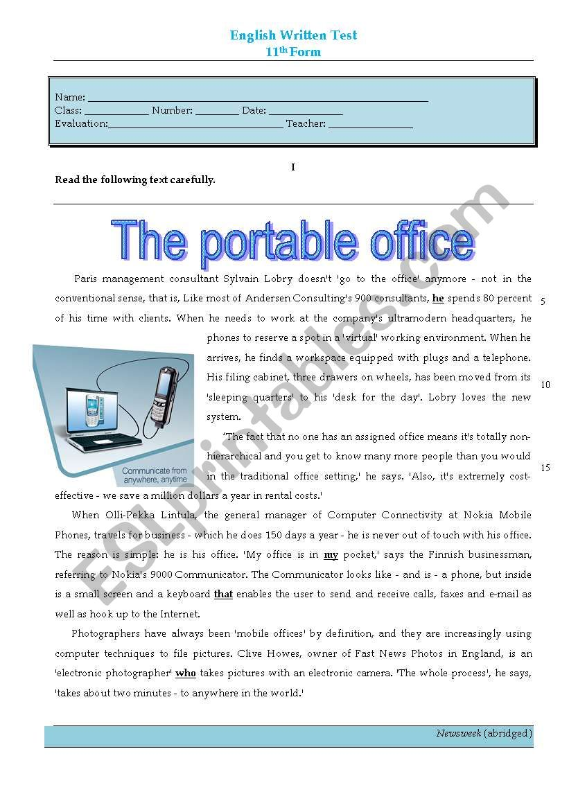 test - the portable office worksheet