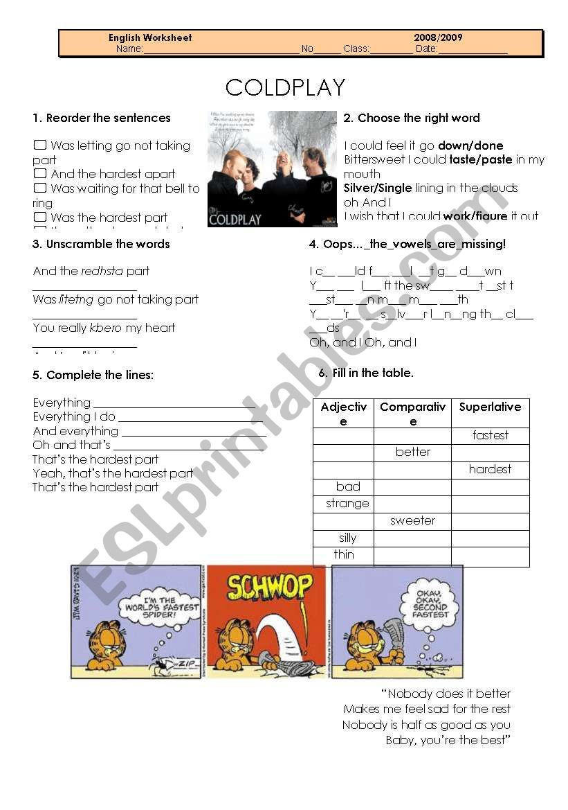 The hardest part_ Coldplay worksheet