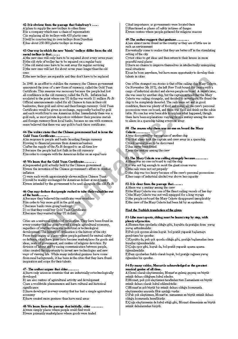 Grammar revision test - ESL worksheet by mongan