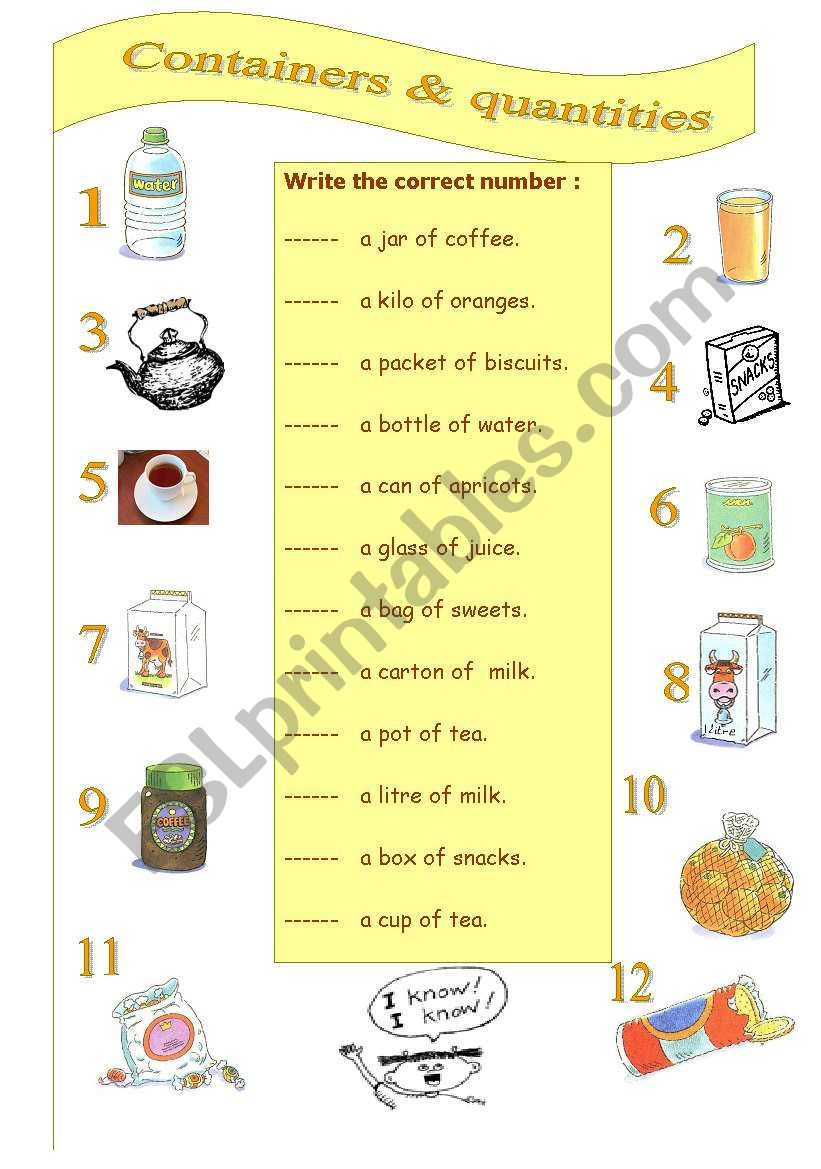 Containers and quantities worksheet