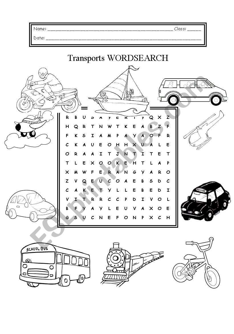 Transports Wordsearch worksheet