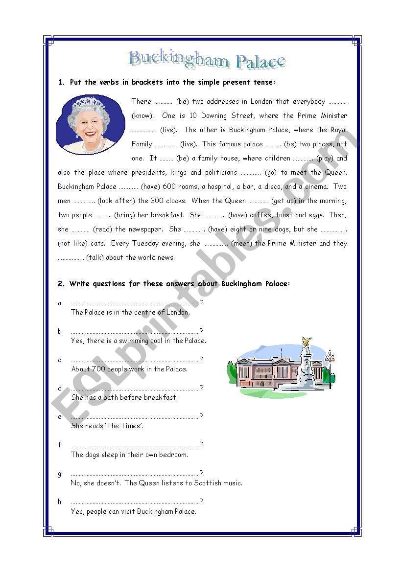 Simple present tense revision: Buckingham Palace