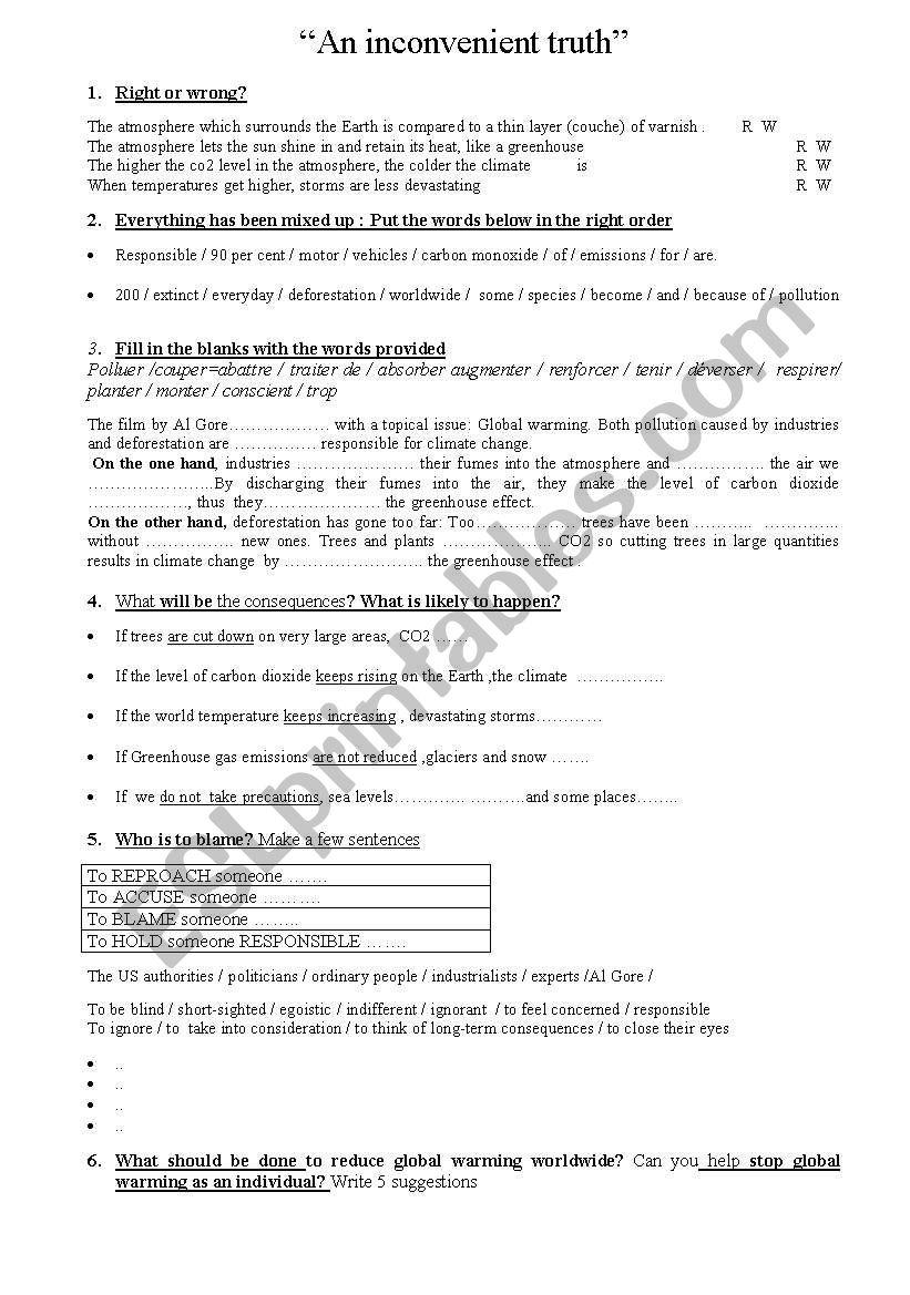worksheet Inconvenient Truth Worksheet english worksheets an inconvenient truth worksheet
