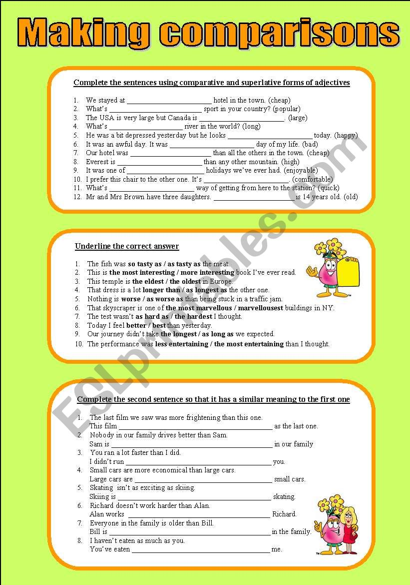 Making comparisons worksheet