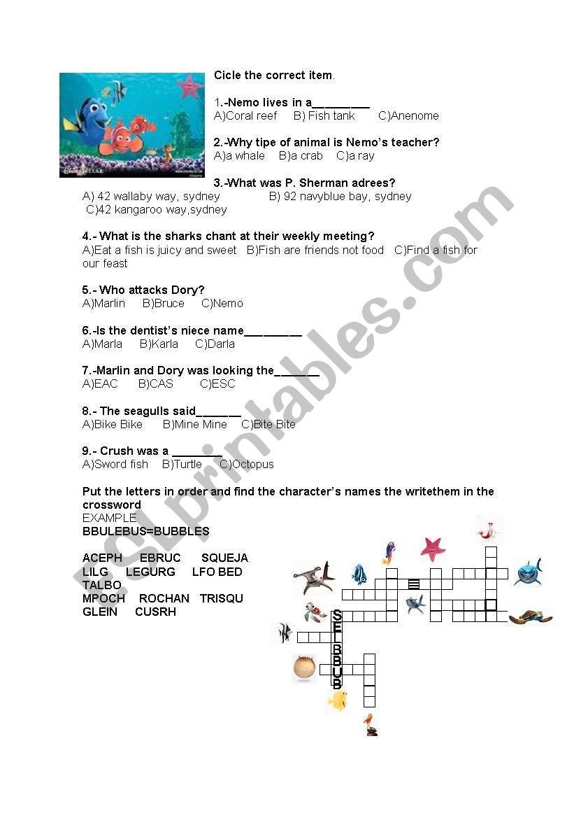 Finding Nemo Esl Worksheet By Gcel