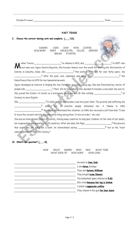 Exam Simple past & future worksheet