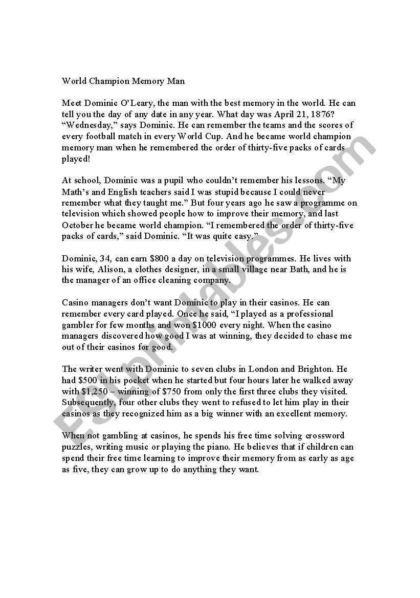 - Reading Comprehension Test - ESL Worksheet By Naccardi