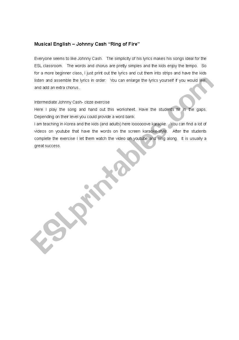 worksheet Ring Of Fire Worksheet english worksheets johnny cash ring of fire worksheet