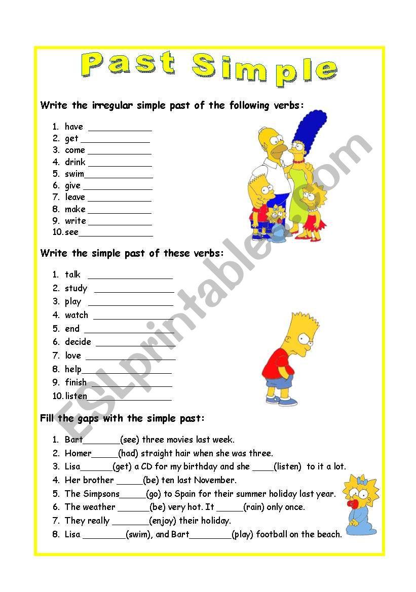 Past Simple Exercises - ESL worksheet by vairor2