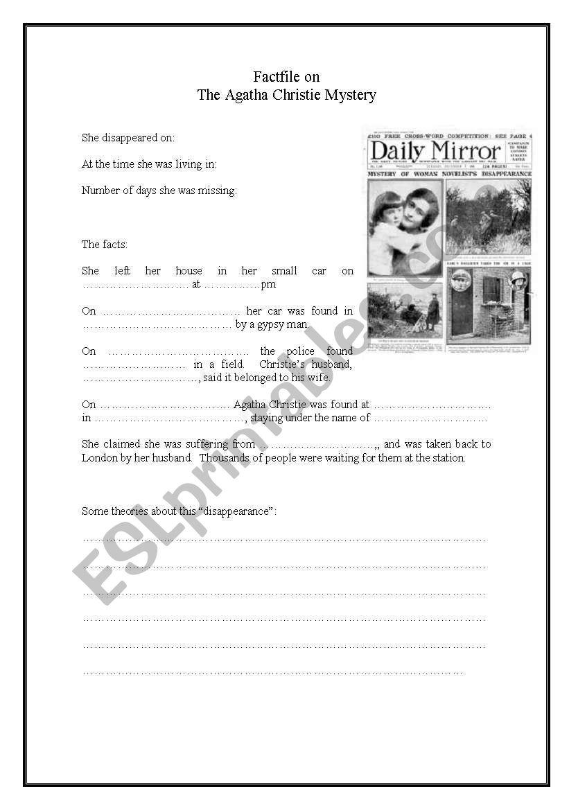 Factfile on the Agatha Christie Mystery