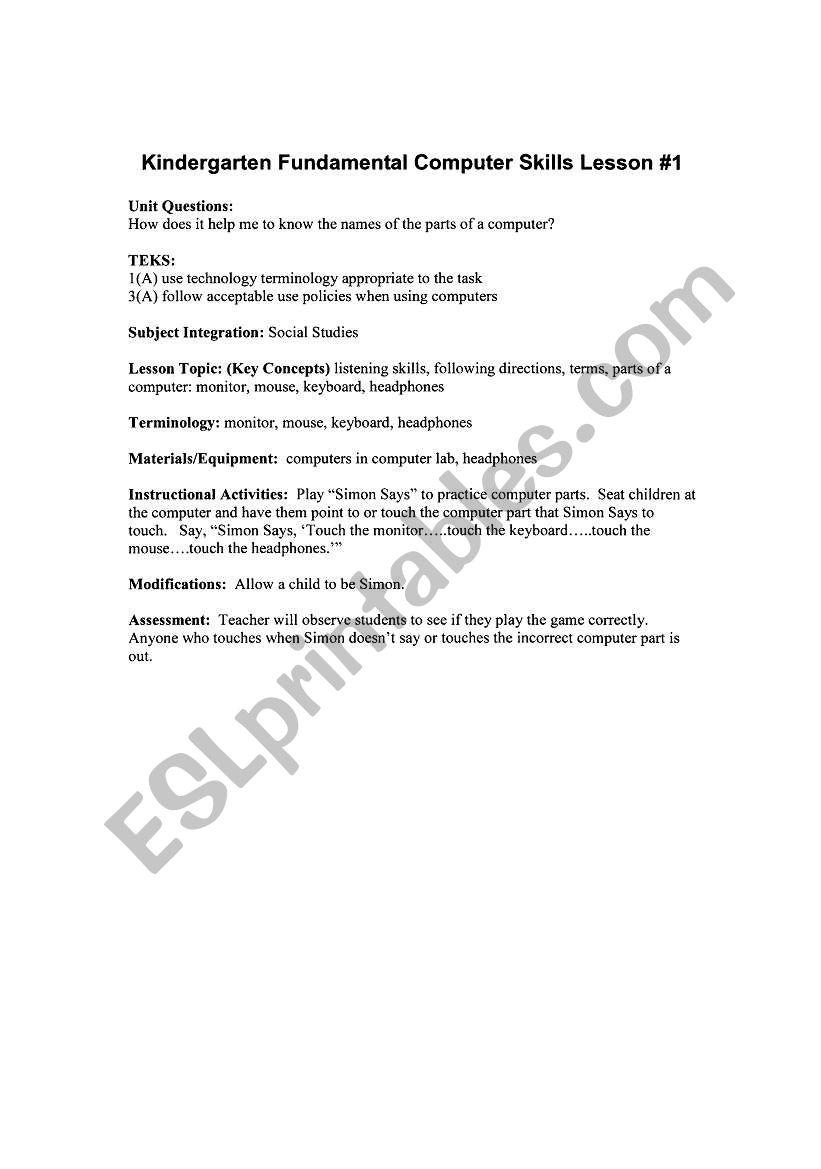 English worksheets: Computer skills