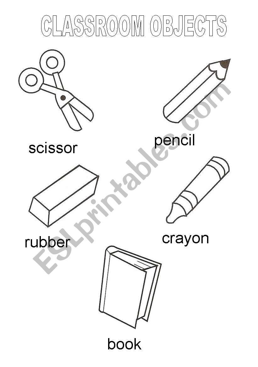 Classroom objects vocabulary worksheet