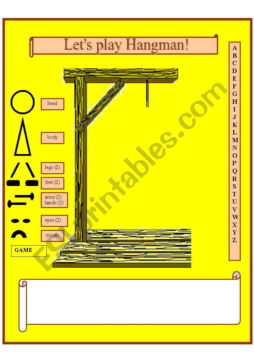 template for the game hangman esl worksheet by douglas