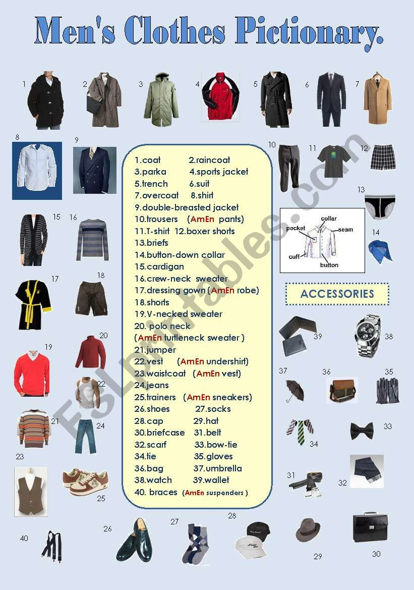 MEN´S CLOTHES PICTIONARY worksheet