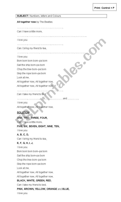 SONGS BY THE BEATLES worksheet