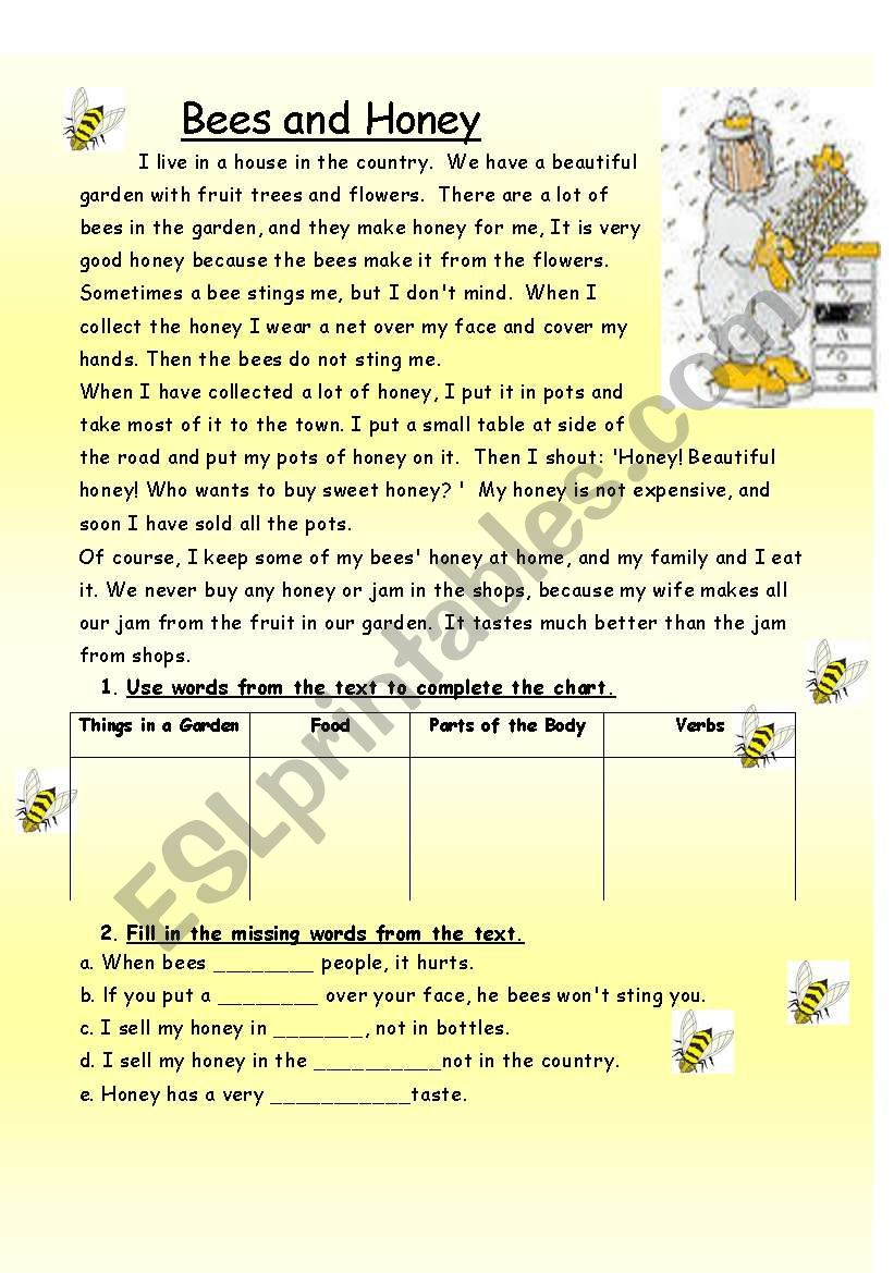 Bees and Honey worksheet