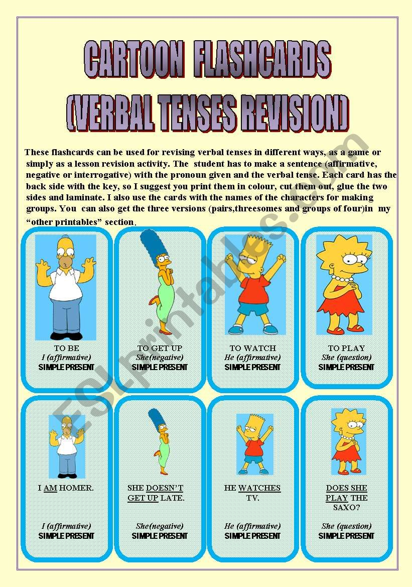 VERBAL TENSES REVISION (with CARTOON CHARACTERS)24 FLASHCARDS: